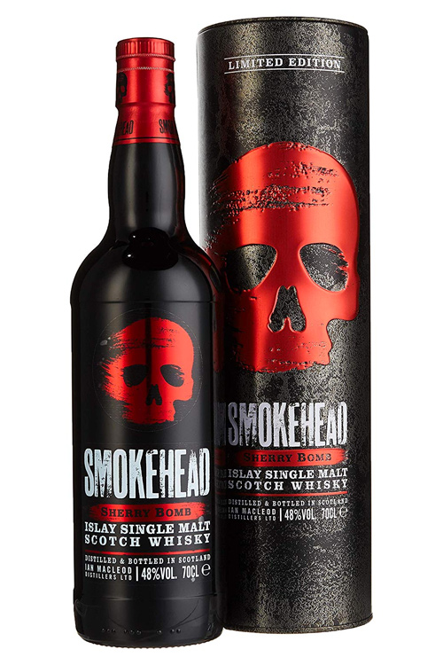Smokehead Sherry Bomb Single Malt Whisky mit markantem Totenkopf